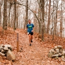 The first runner to reach the top of Hickory Nut Mountain.