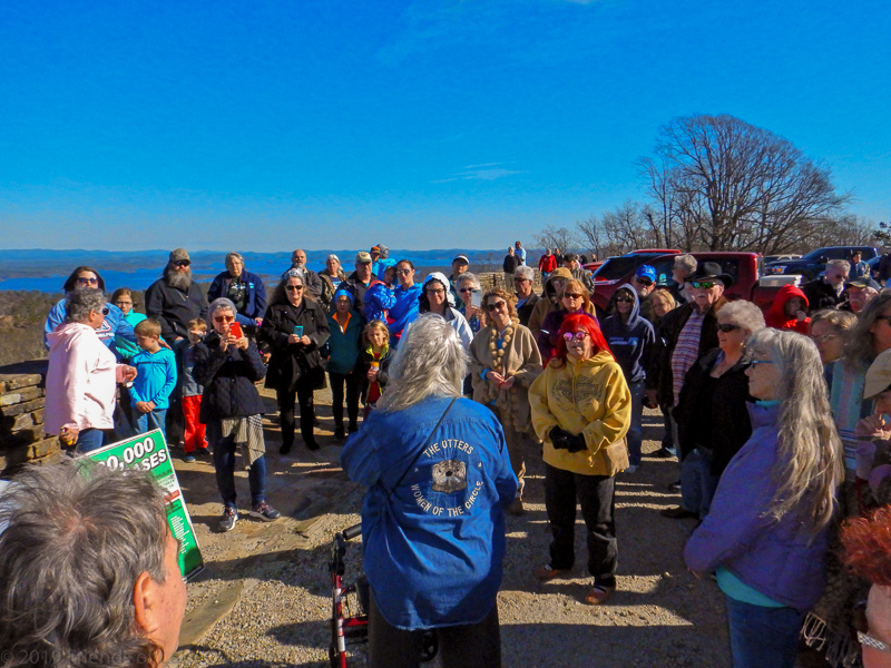 A terrific crowd at the Hickory Nut Mountain Vista for the release of the rehabilitated bald eagle.